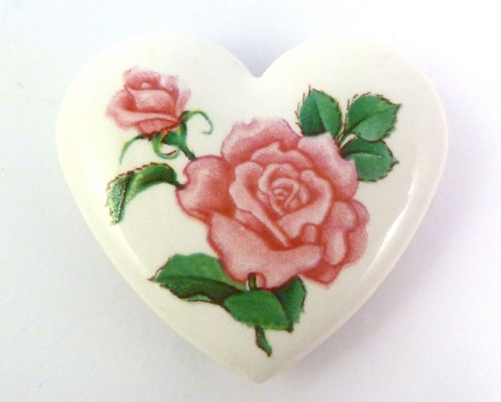 Vintage Birthday Bouquet Porcelain Heart Brooch By Avon